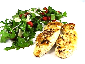 Skinny Turkey Milanese with Arugula and Tomato Salad with Weight ...