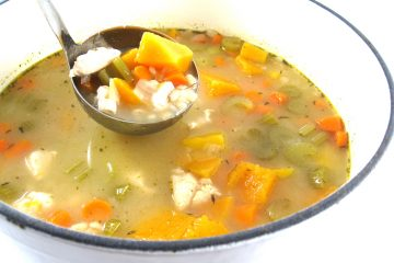 chicken, barley and butternut squash soup photo