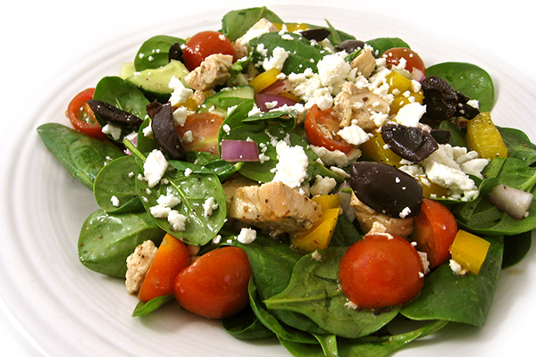 Skinny Greek-Style Chicken Spinach Salad