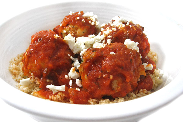 Skinny Greek-Style Meatballs over Whole Wheat Couscous ...
