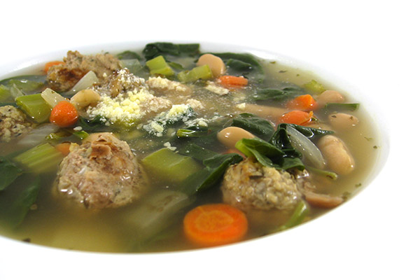 Italian Wedding Soup Is A With Lot Of Fans It Was Big Hit At My House Traditionally Made Added Pasta Ive Swapped The For Fiber Rich