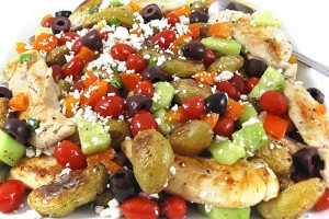Greek-Style Chicken and Roasted Potatoes, Low Calorie and Bursting with Flavor!