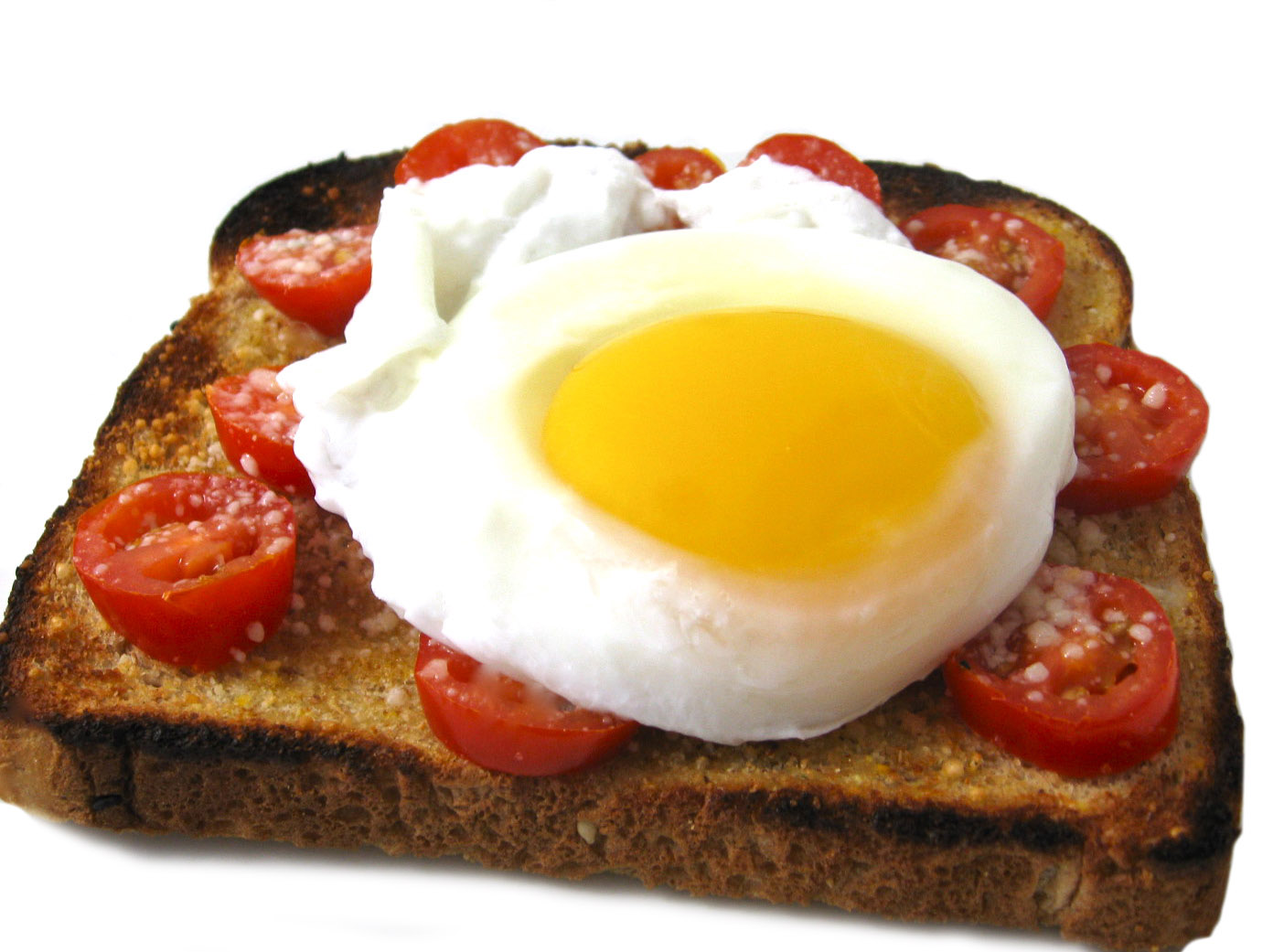 Poached Egg on Skinny Parmesan Tomato Garlic Toast