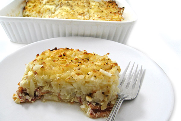 Though filling enough as a main dish, you can also serve smaller portions of this creamy, cheesy casserole as a tasty side to scrambled eggs. We Hash Brown Casserole with Bacon.