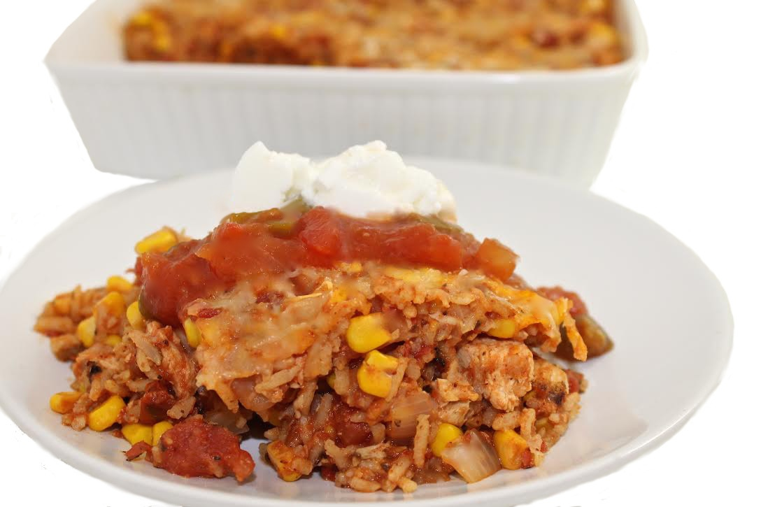 Skinny Mexican Chicken And Brown Rice Casserole With Weight Watchers Points Skinny Kitchen