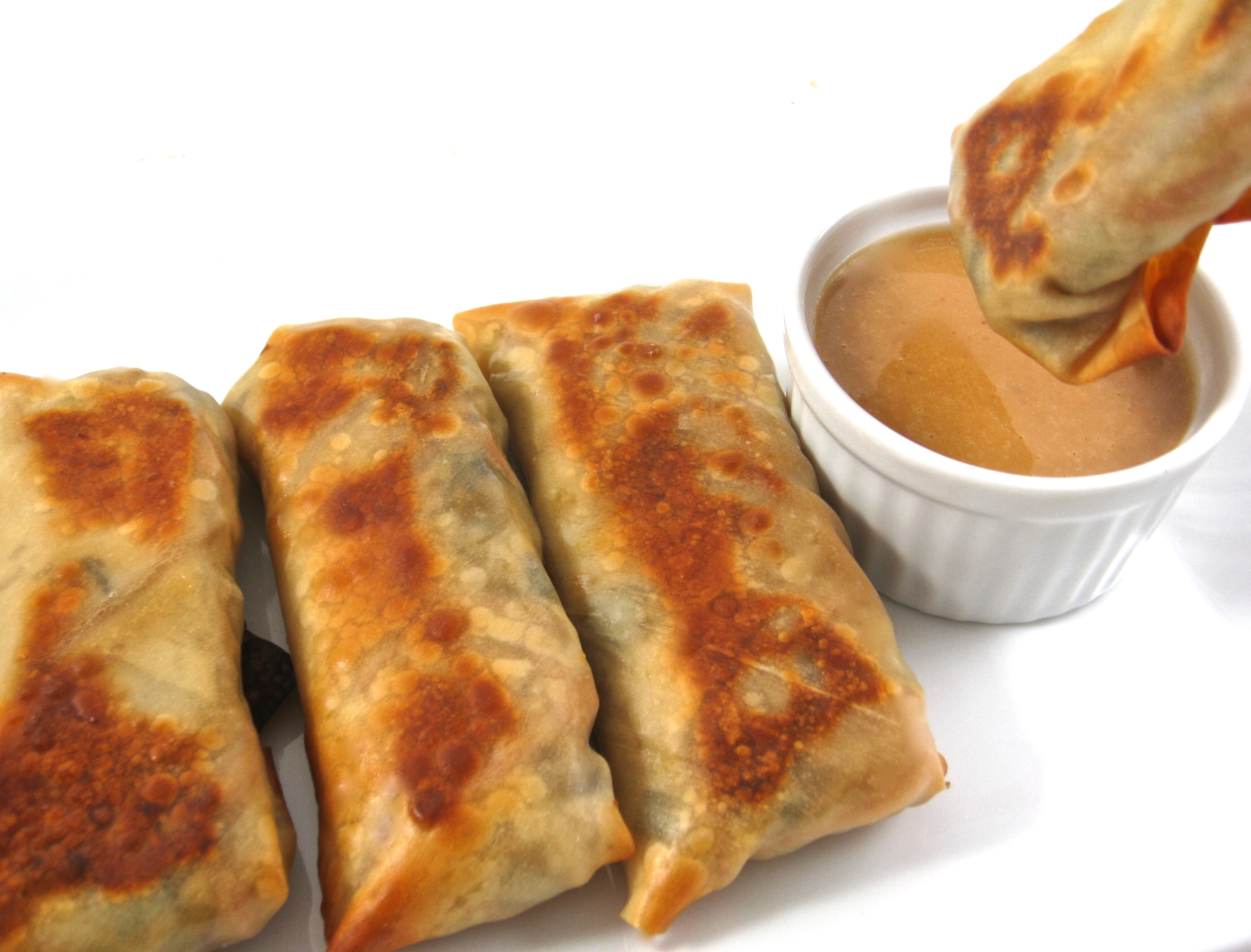Skinny Baked Vegetarian Egg Rolls with Peanut Sauce with ... Vegetarian Egg Rolls