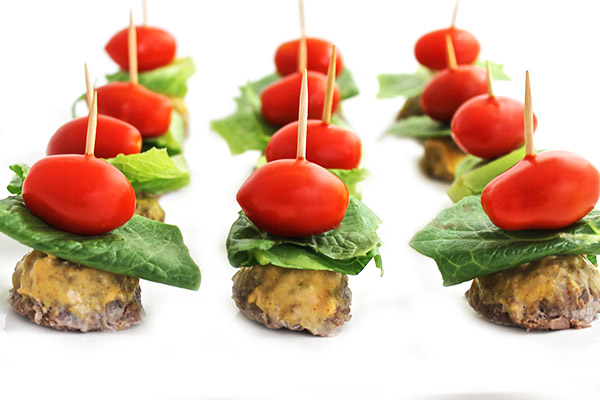 Skinny mini burgers on a stick
